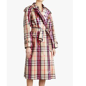 NWT Burberry Laminated Plaid Patent Trench Coat